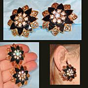 Black Enamel Rhinestone Openwork Flower Earrings Gold Tone  1.5 inches Huge
