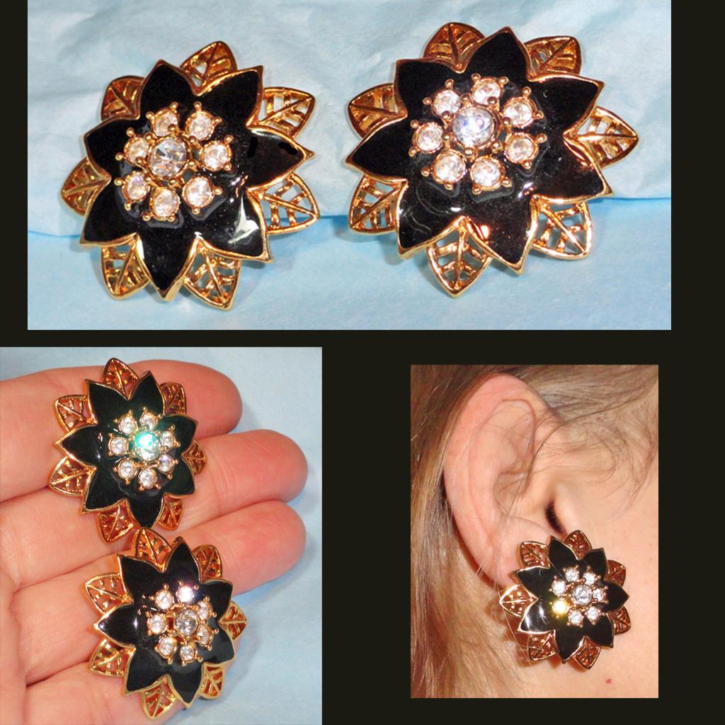 Black Enamel Rhinestone Openwork Flower Earrings Gold Tone  1.5 inches Huge
