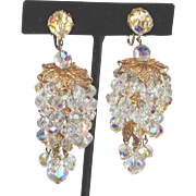 Aurora Borealis Rhinestone Crystal Chandelier Tiered Shoulder Duster Earrings