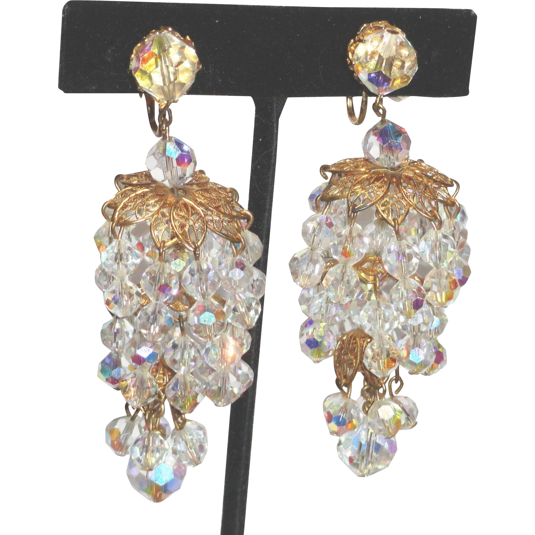 Aurora Borealis Rhinestone Crystal Chandelier Tiered Shoulder Duster Earrings