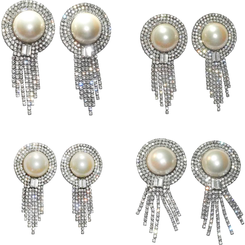 Designer High End Huge Faux Mabe Pearl Rhinestone Dangle Earrings