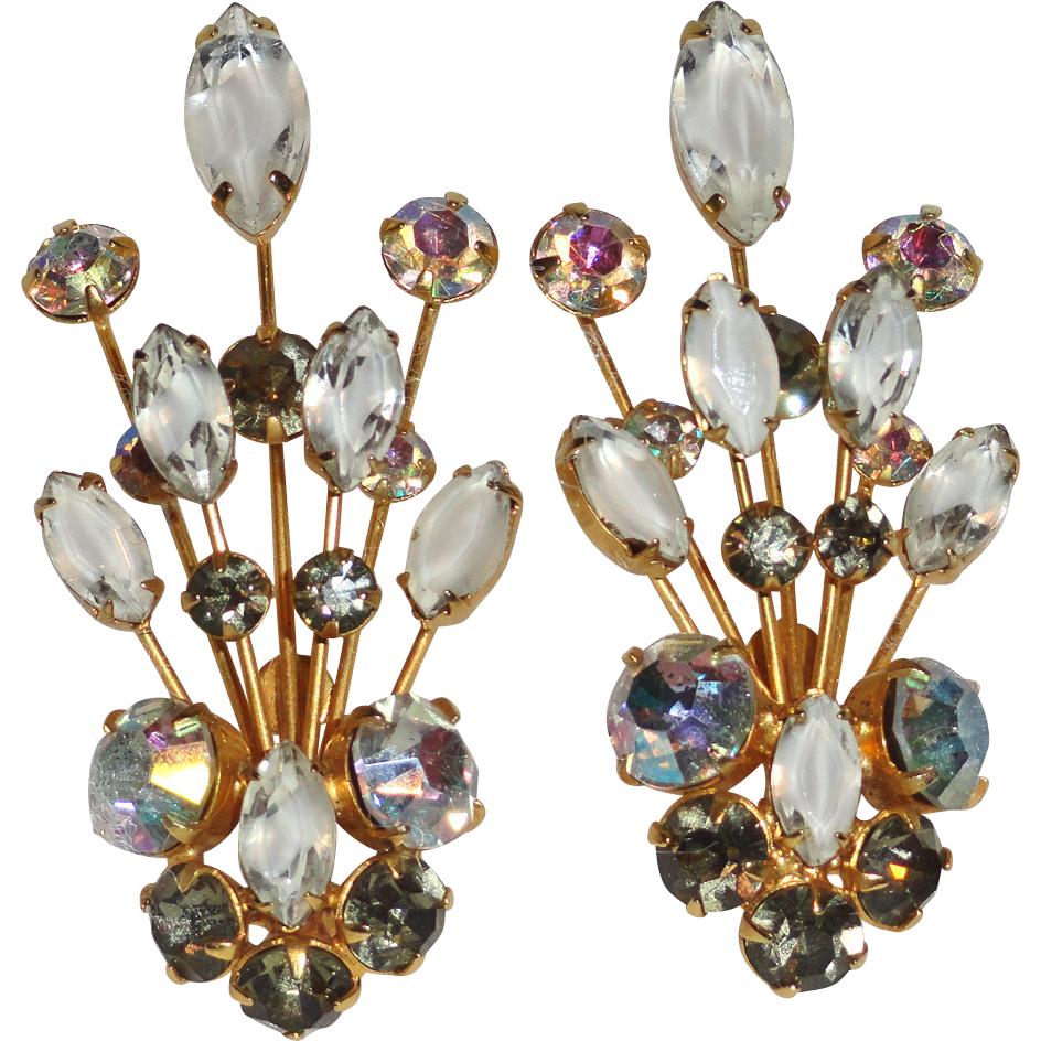 Hobe Givre Aurora Borealis and Smoke Grey Rhinestone Ear Climber Earrings