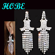 "Hobe Clear Rhinestone Shoulder Duster Dangle Earrings 3.25"" Long"