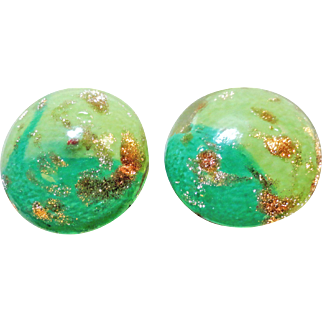 Murano Glitter Art Glass Cabochon Clip On Earrings Italy