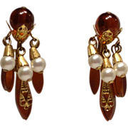 Miriam Haskell Lucite Root Beer Faux Pearl Dangle French Clip Earrings