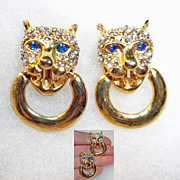 Rhinestone Leopard Jungle Cat Door Knocker Earrings