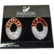Swarovski Signed Large Red Baguette Crystal Earrings 14K posts Orig Card Swan Logo