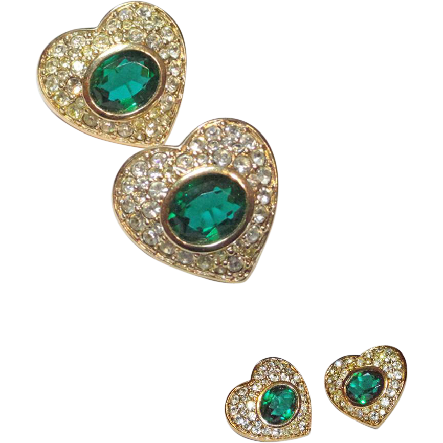 Swarovski S.A.L.  Gold Plated Heart Pierced Earrings Green and Clear Crystals