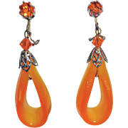 Tangerine Moonglow Carved Lucite Rhinestone Dangle Clip Earrings