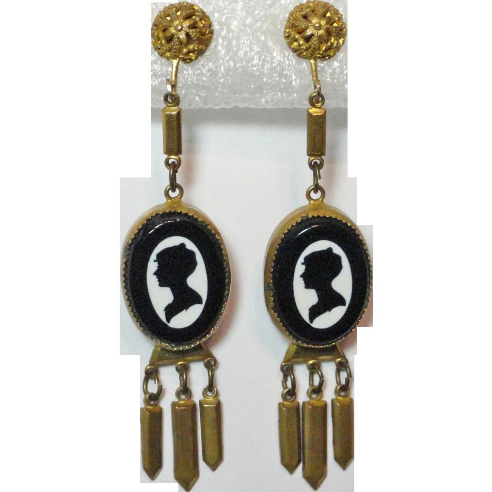 Silhouette Earrings: Victorian Black On White Silhouette Cameo Gilt Earrings