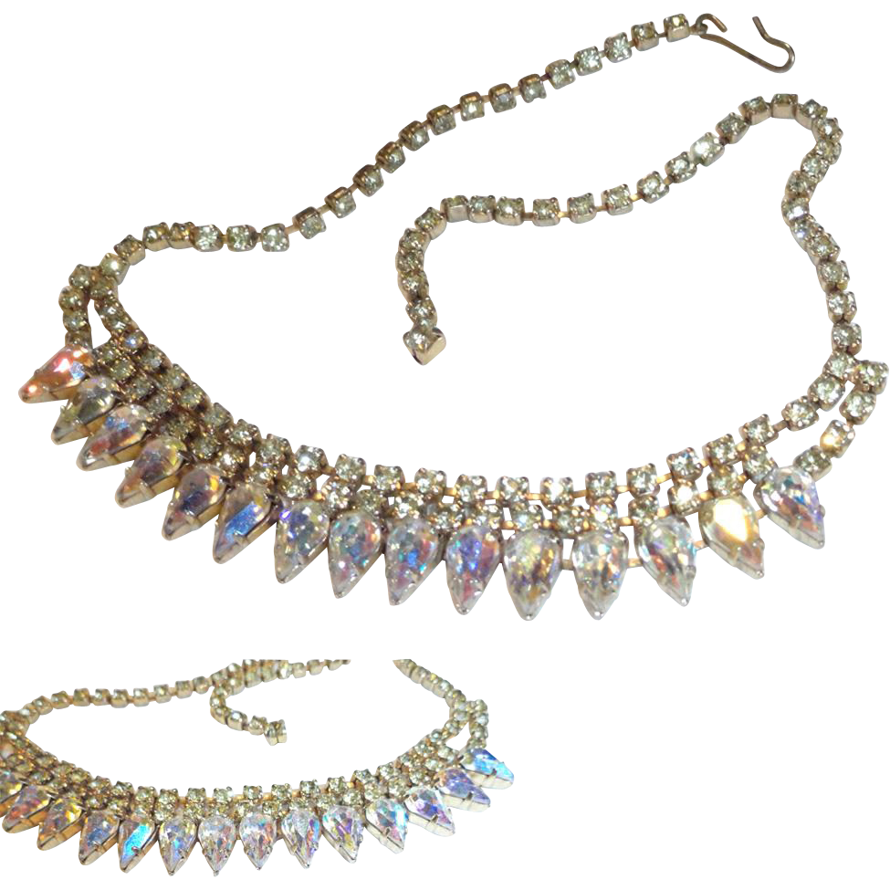 Aurora Borealis Teardrop Jonquil Rhinestone Bib Necklace