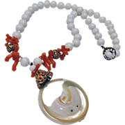 Miriam Haskell Mother of Pearl Shell and Faux Coral White Bead Necklace Signed