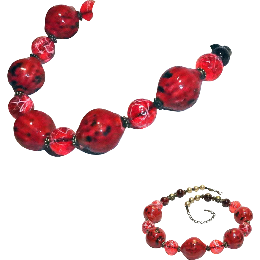 Chunky Large Murano Red Art Glass Bead and Lucite Bead Necklace.