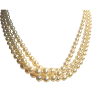 Marvella Triple Strand Faux Pearl Choker Necklace Rhinestone Clasp in orig box