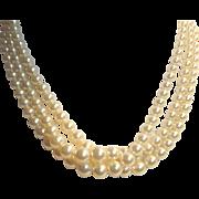 Marvella Triple Strand Faux Pearl Choker Necklace Rhinestone Clasp in orig box
