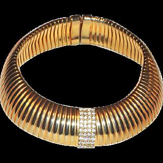 Runway Gold Tone Rhinestone Wide Collar Necklace