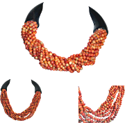 Orange Coral Bead Sautoir Necklace  Black Ends and Clasp