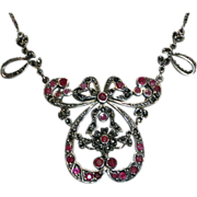 Sterling Silver Ruby Marcasite Heart Bow Necklace