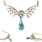 Van Dell Blue Aquamarine Rhinestone Gold Fill Necklace