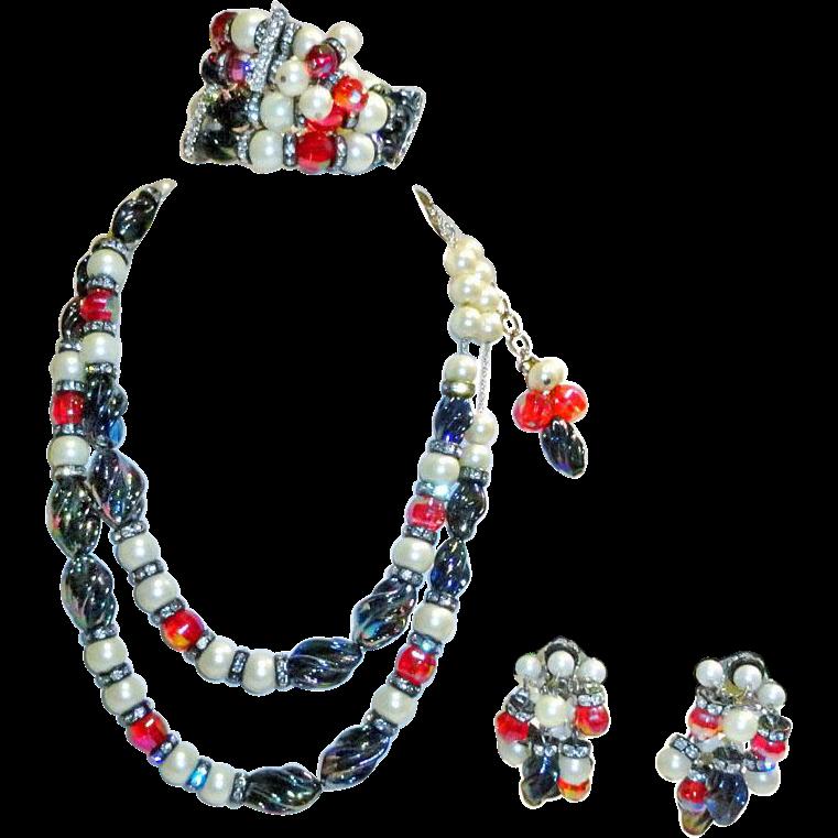 Hobe Faux Pearl Art Glass Rhinestone Necklace Bracelet Earrings Parure