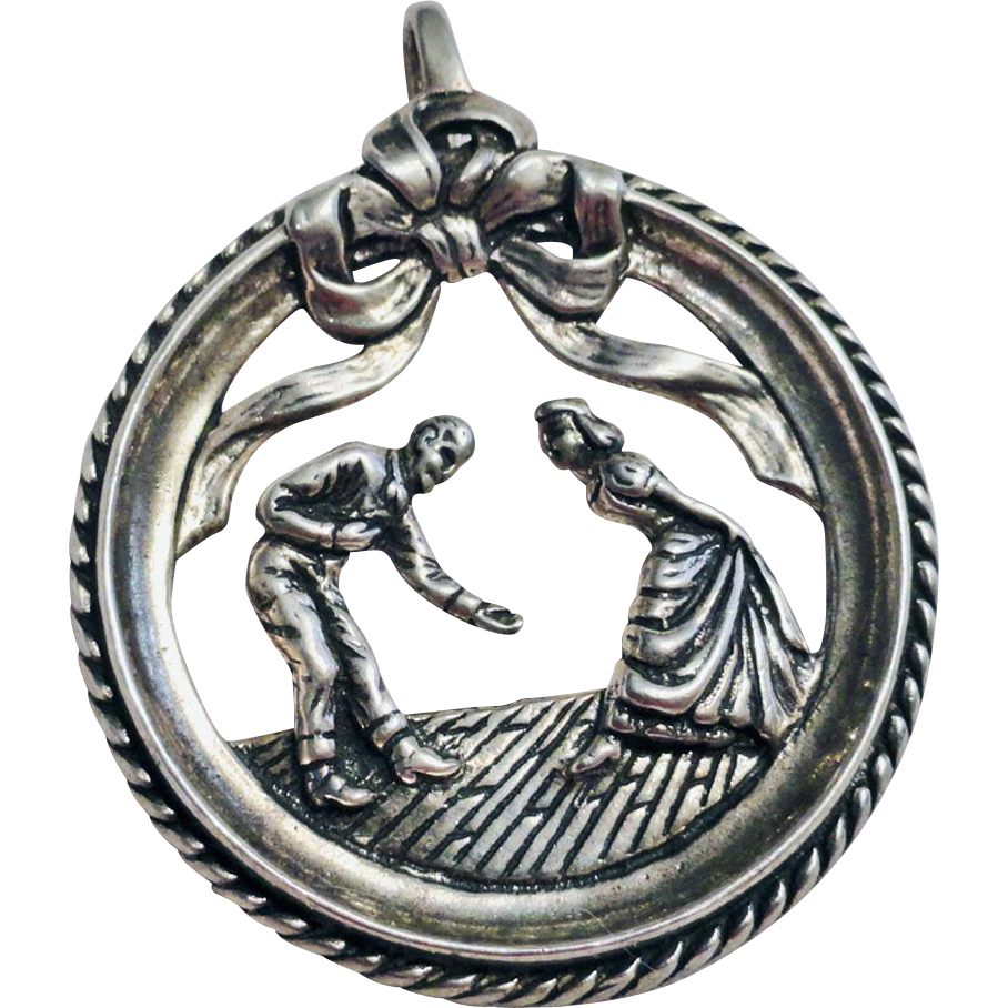Sterling Silver Western Couple Dancing Pendant