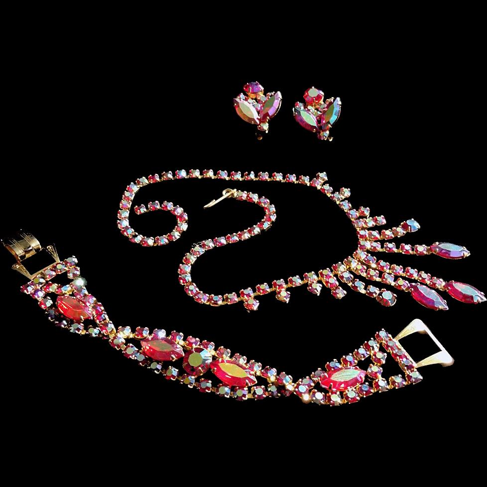 Siam Red Aurora Borealis Rhinestone Dangle Necklace Bracelet Earrings Parure