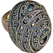 Sterling Silver Marcasite Swirl Ring size  5-1/2