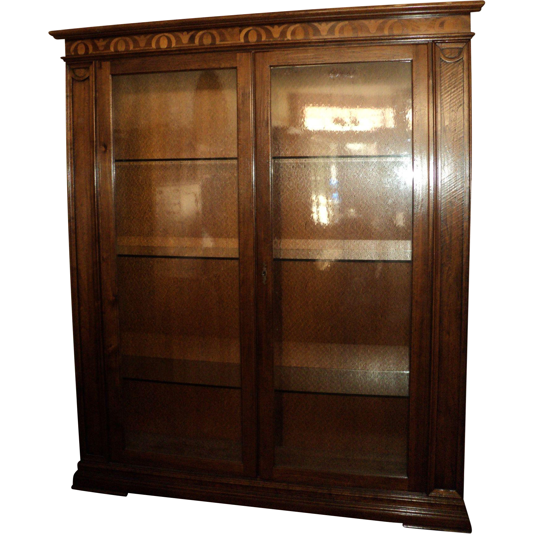 Large Beautiful Inlaid Wood Display Cabinet w. Seeded Glass