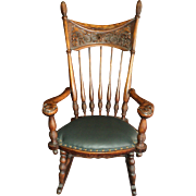 Fabulous Antique Oak  Rocker, Mythical Sea Serpents circa 1880's
