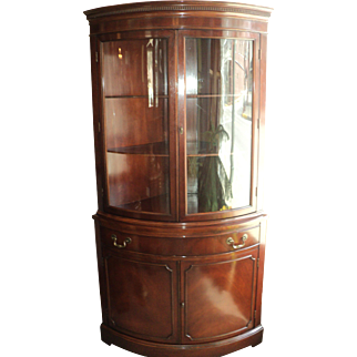 Mahogany Curved Glass China Cabinet, Circa 1940's