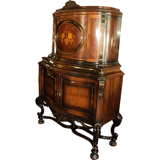 Antique Carved Renaissance Marquetry China Cabinet, Rockford Republic Furniture