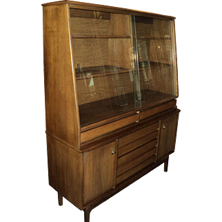 """Mid Century Walnut China Cabinet """"American Forum"""" by Stanley"""