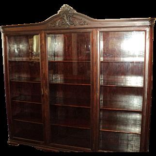 Antique Mahogany Bookcase, Three Doors