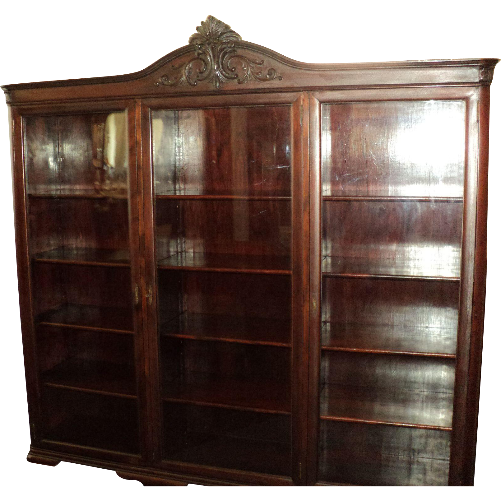 Antique Mahogany Bookcase, Three Doors