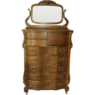 Antique Oak Hi Boy Chest of Drawers, made in St. Louis, MO