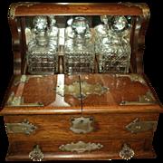 Antique Oak Victorian Liquor Holder Case with 3 Crystal Decanters, (Tantalus)