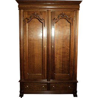 Antique Double Door Oak Wardrobe/Armoire made in St Charles, MO