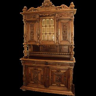 Antique Walnut Court Cabinet, Cupboard, Sideboard from Belgium