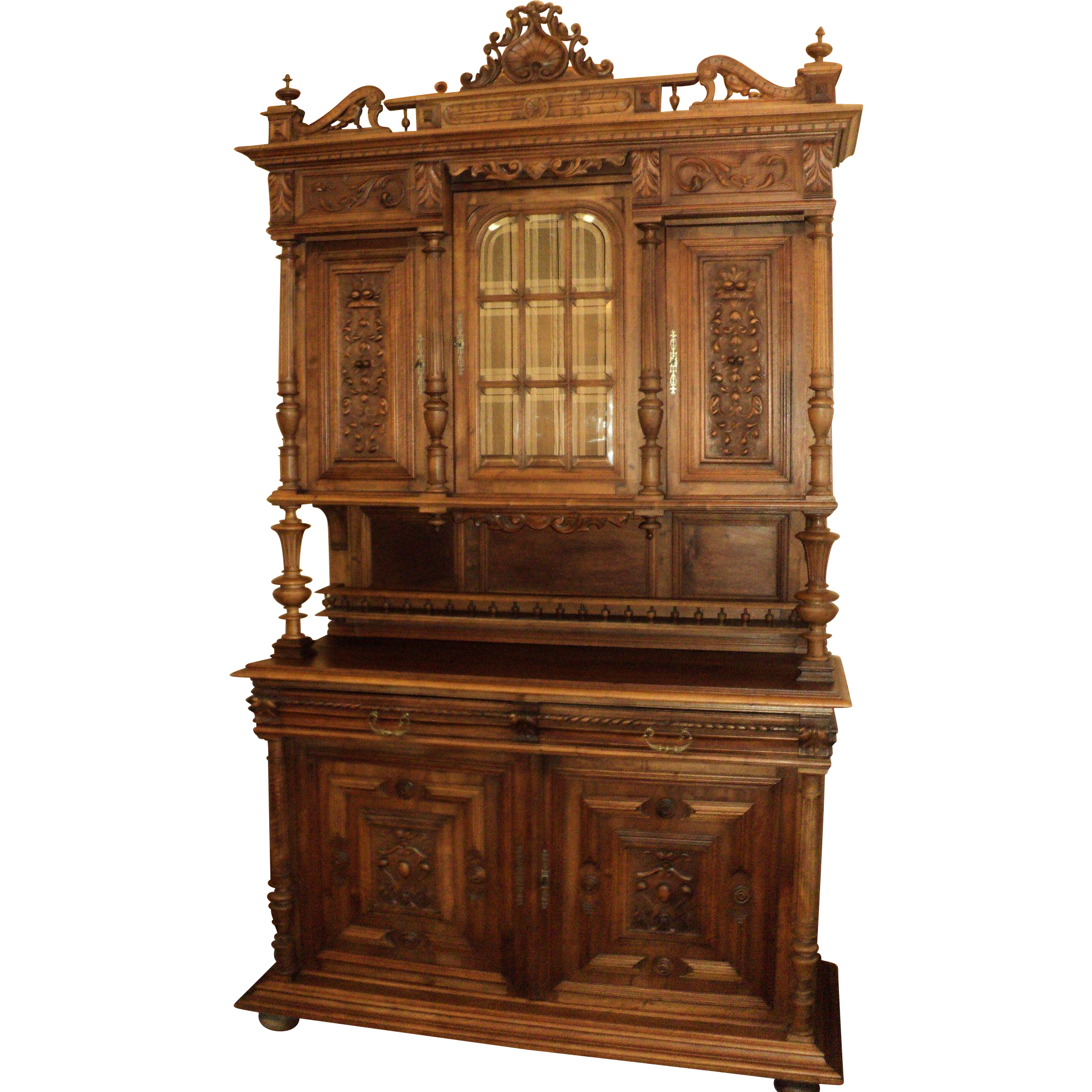 Antique Walnut Court Cabinet, Cupboard, Sideboard from Belgium