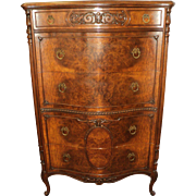 Burl Walnut French Provincial Dresser & Chest of Drawers