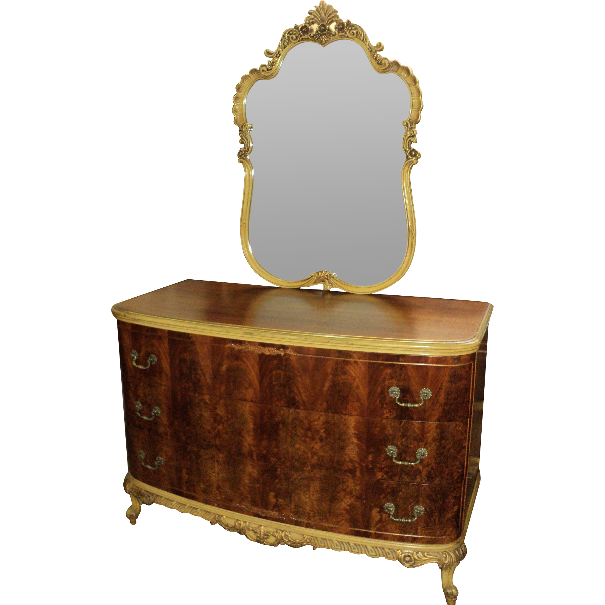 French Provincial Dresser w, Mirror and Bed, circa 1920's-30's