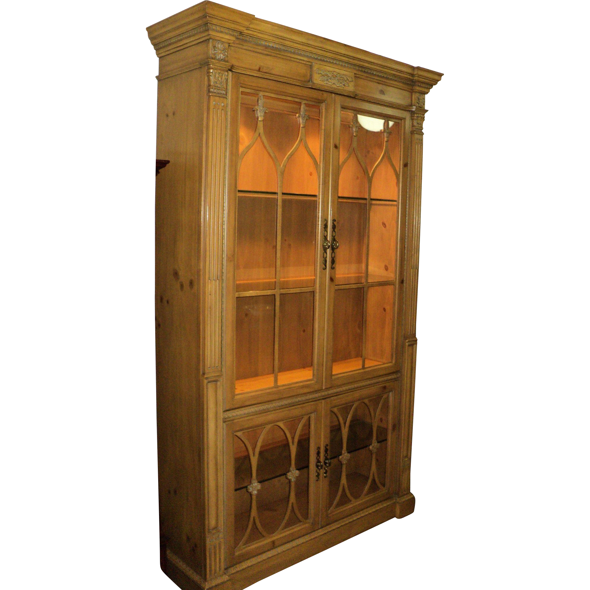 Pine China Display Cabinet by Bernhardt