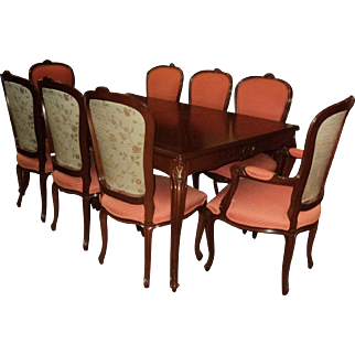 French Country Dining Room Table w. Eight Chairs