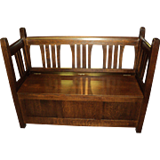 Gus Stickley Mission Style Storage Settle