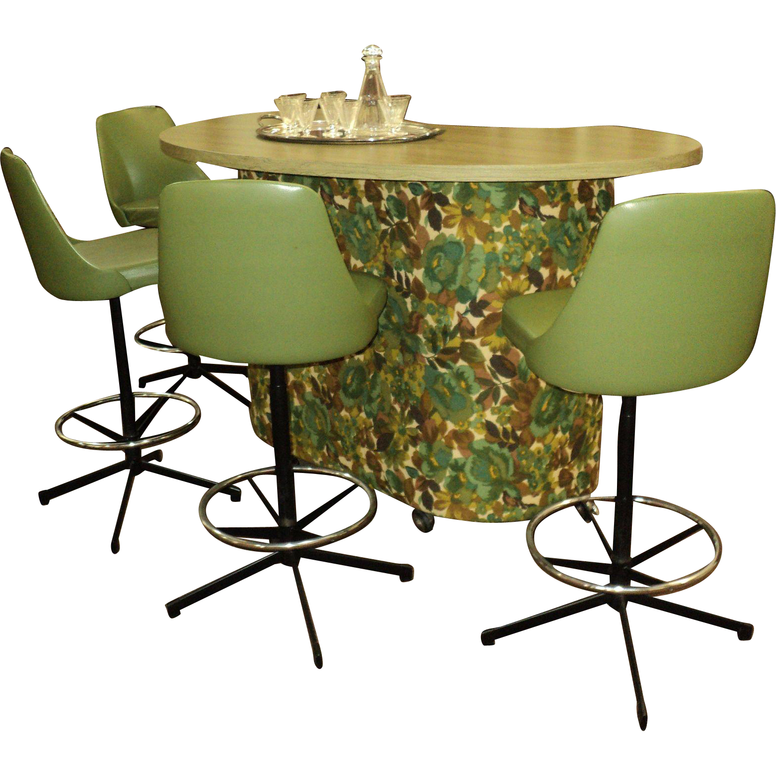 1960's Green Cosco Bar & 4 Swivel  Bar Stools
