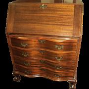 Mahogany Chippendale Style Slant Front Secretary Desk, 1940's