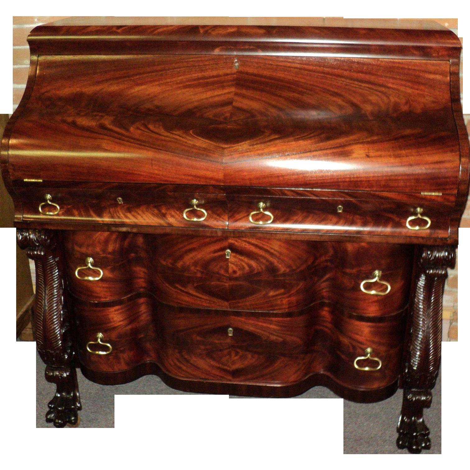 Antique Mahogany Claw Foot Federal Empire Drop Front Desk