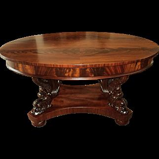 Antique Mahogany Winged Sea Serpent Table Desk, Circa 1890's