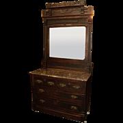 Walnut Eastlake Victorian Dresser & Washstand
