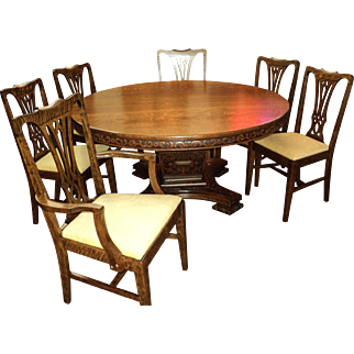 """Set of 6 Oak """"Chippendale Style"""" Chairs, circa 1900"""